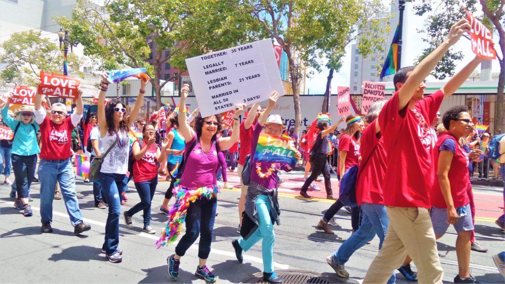 Lesbians at San Francisco gay pride parade, US