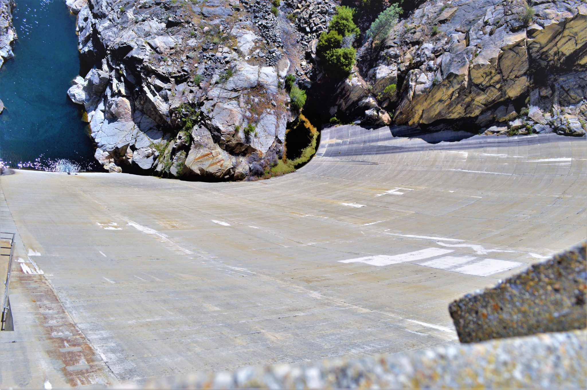 Looking down a dam, Hetch Hetchy, California