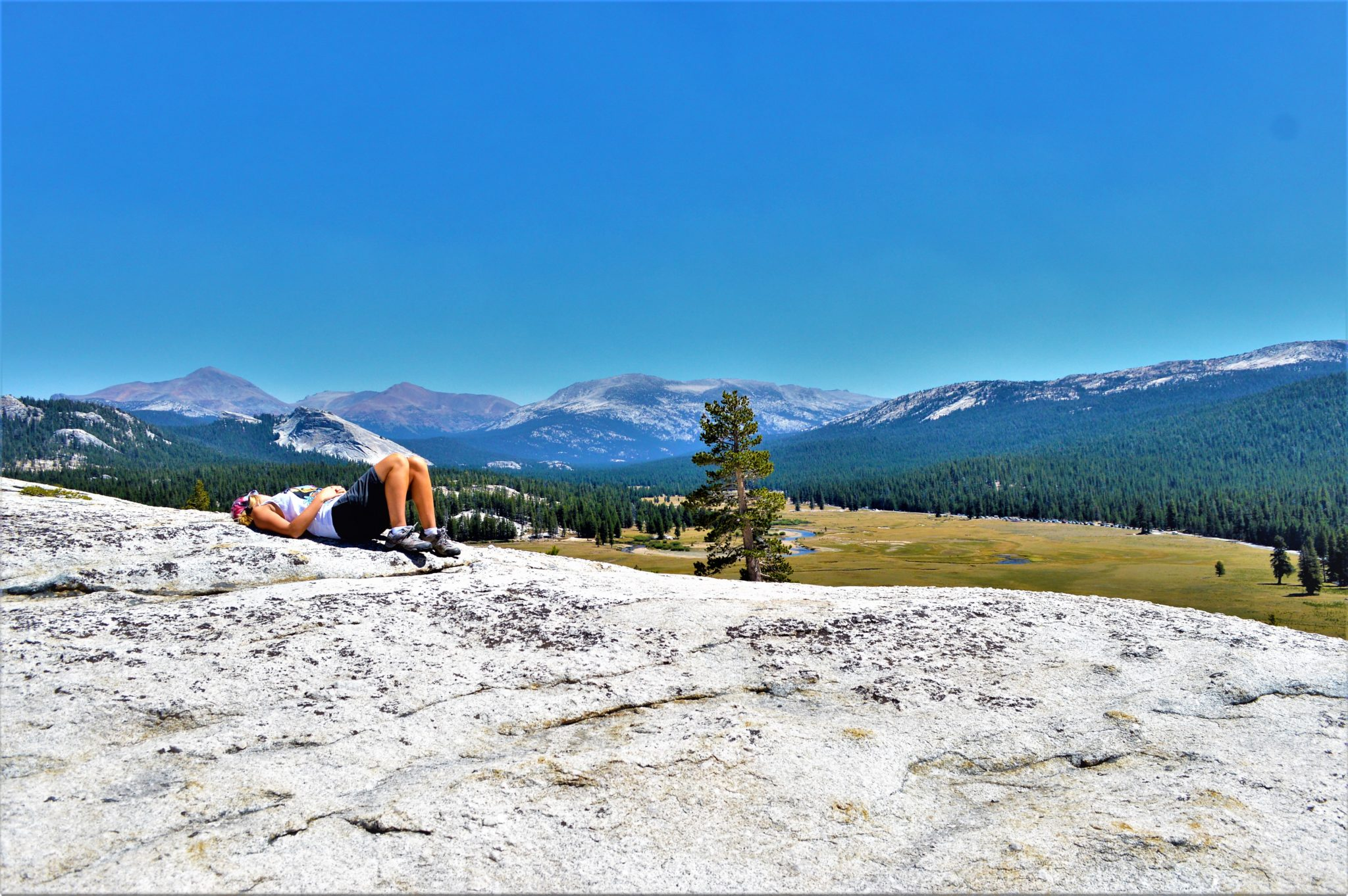 Lying on top of hill, Yosemite national Park, California
