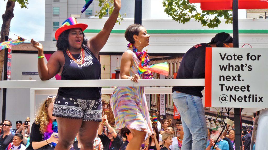 Netflix float, orange is the new black stars, San francisco gay pride parade