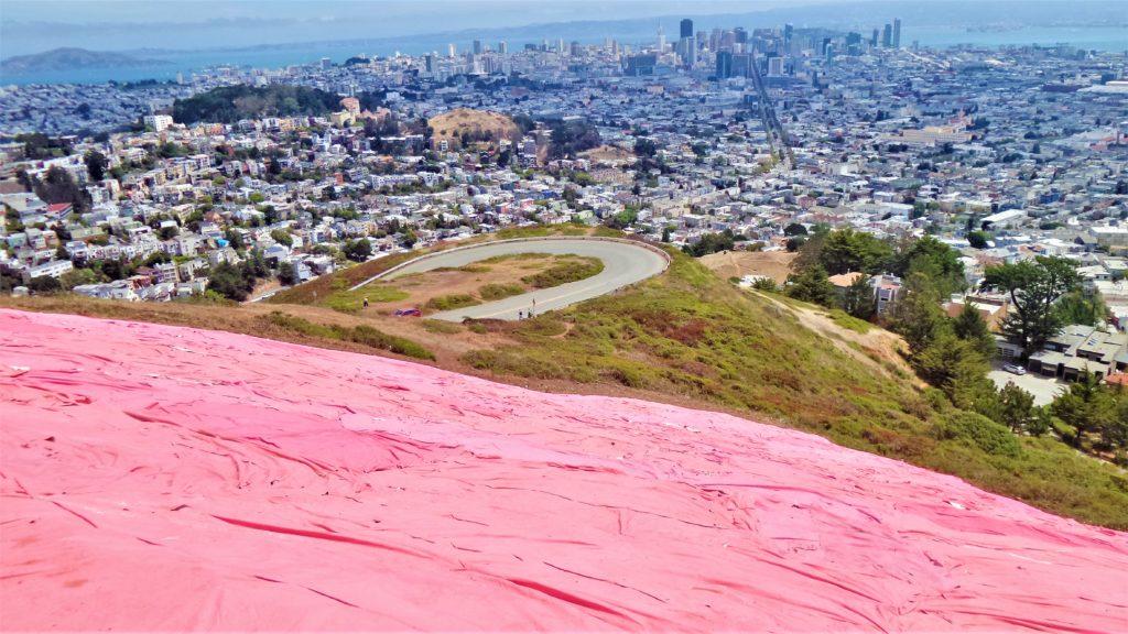 Pink triangle on Twin Peaks, San Francisco