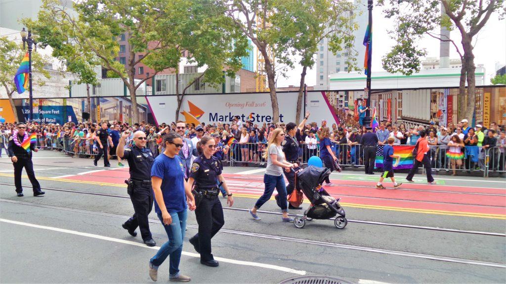 Police at San Francisco Gay Pride parade, California