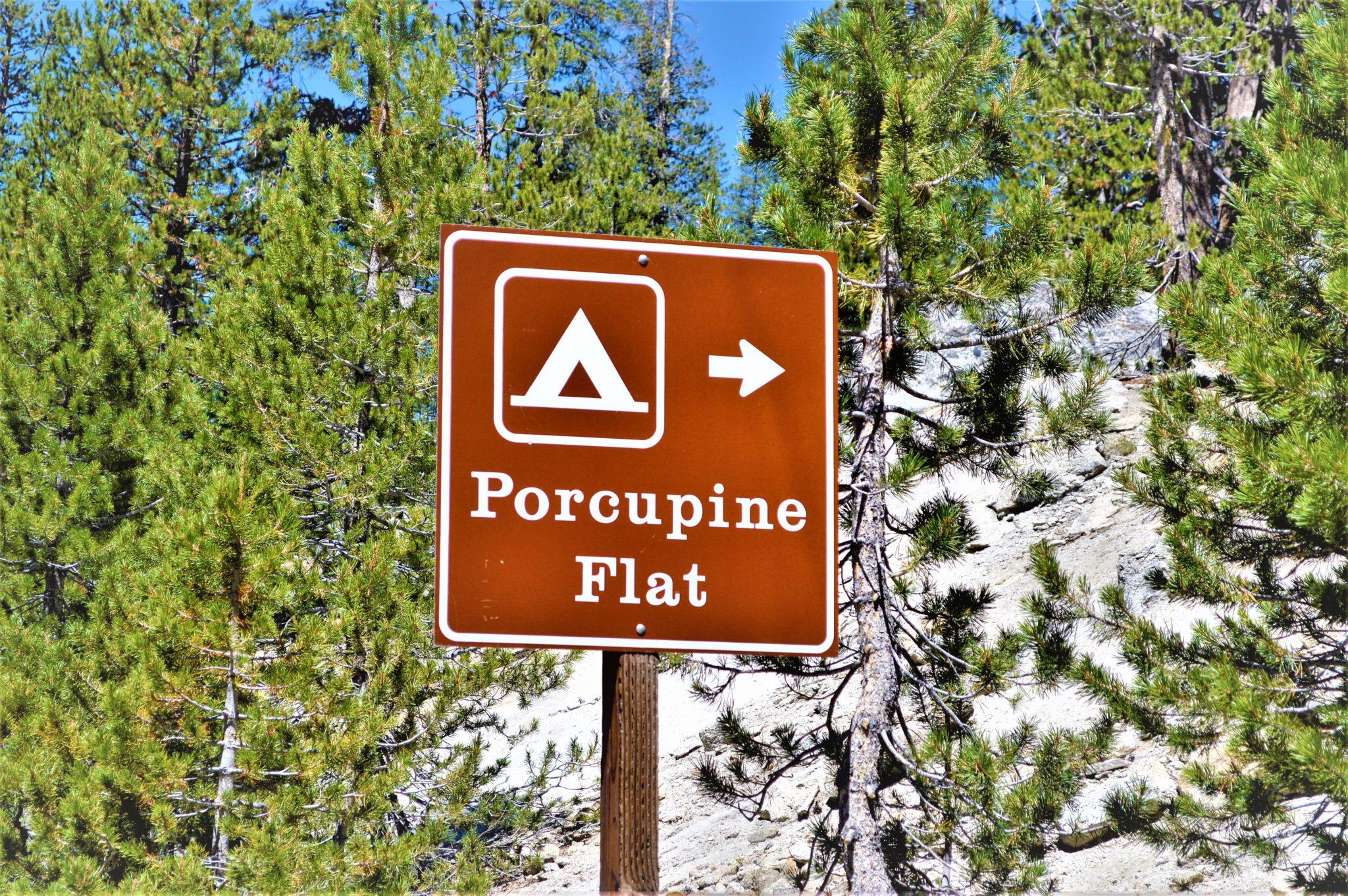 Porcupine Flat Camping sign, Yosemite