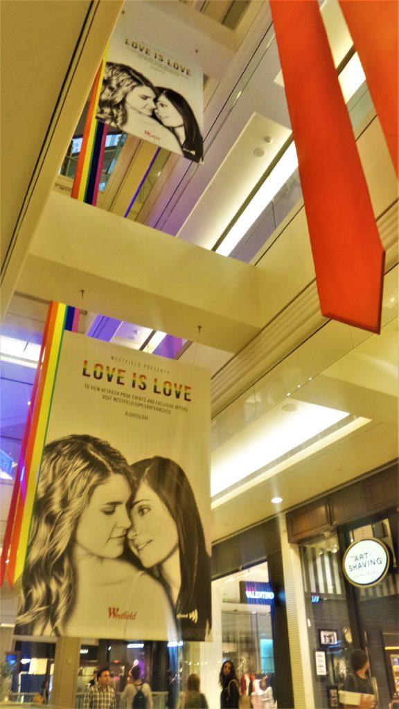 Pride signs, San Francisco Mall, California