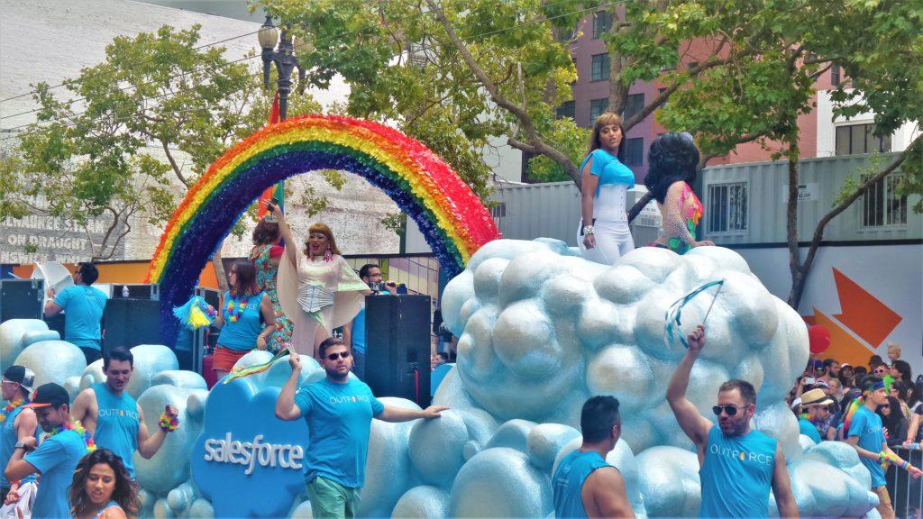 Salesforce float, gay pride, san francisco