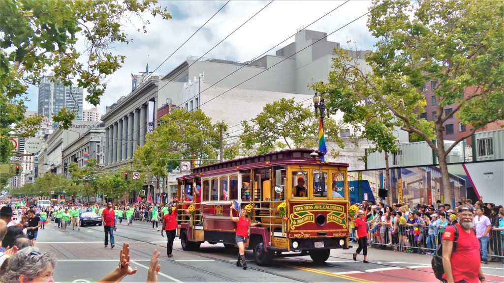San Francisco Cable car, gay pride parade, usa