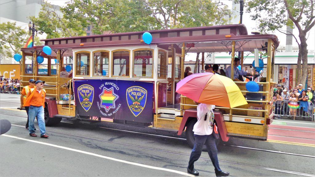 San Francisco police tram, gay pride parade, California