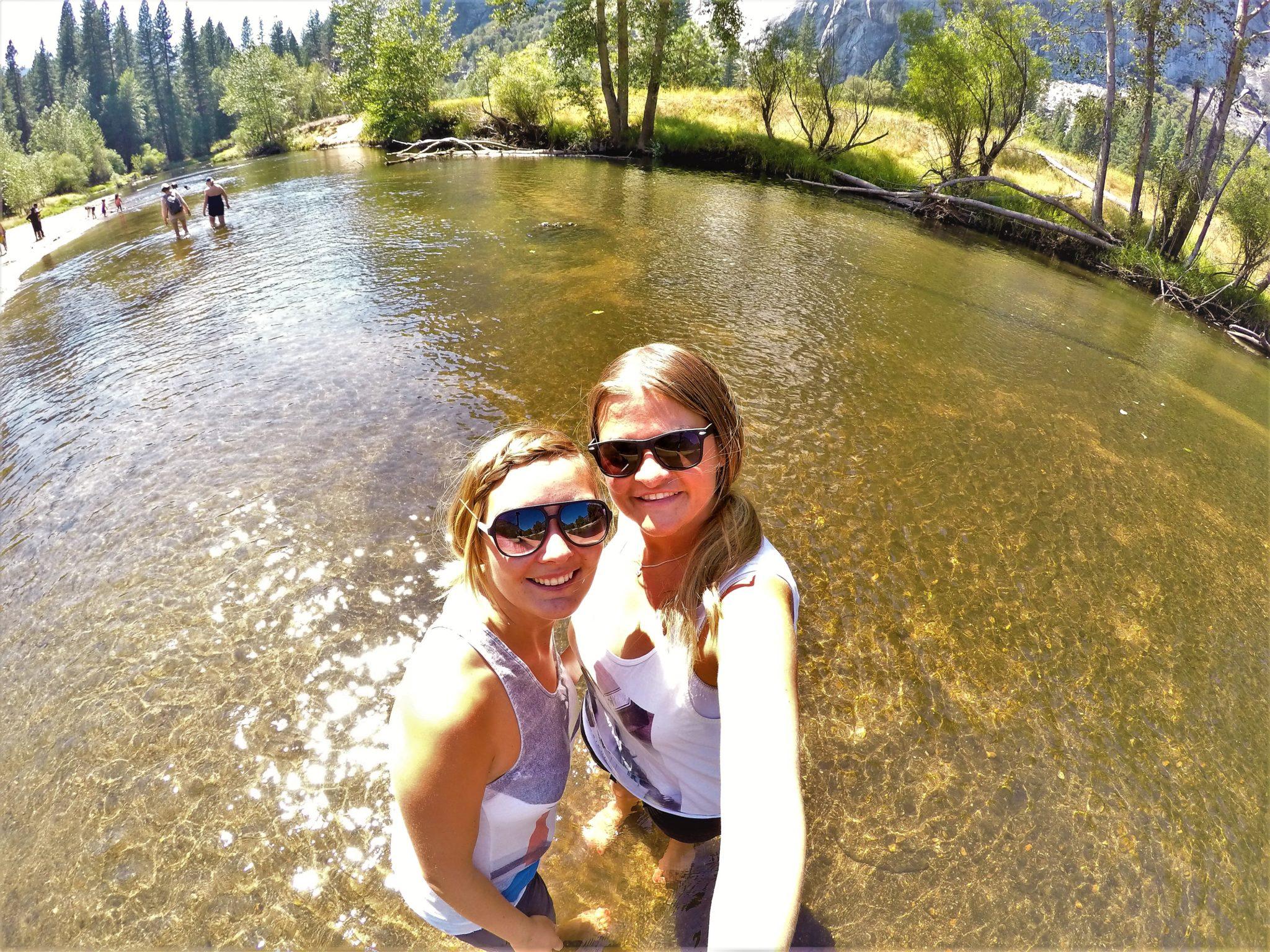 Selfie in lake at Yosemite National Park