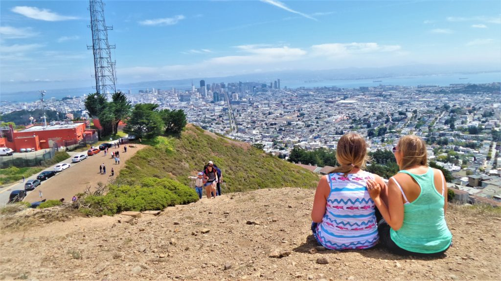 Sitting on Twin Peaks, San Francisco, California