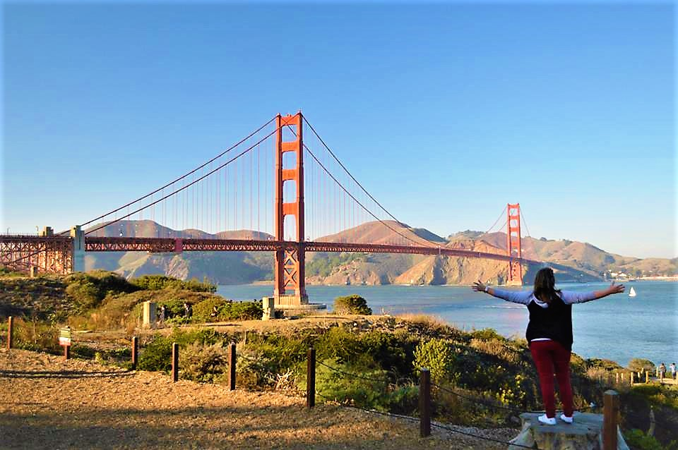Standing in front of the Golden Gate Bridge, San Francisco
