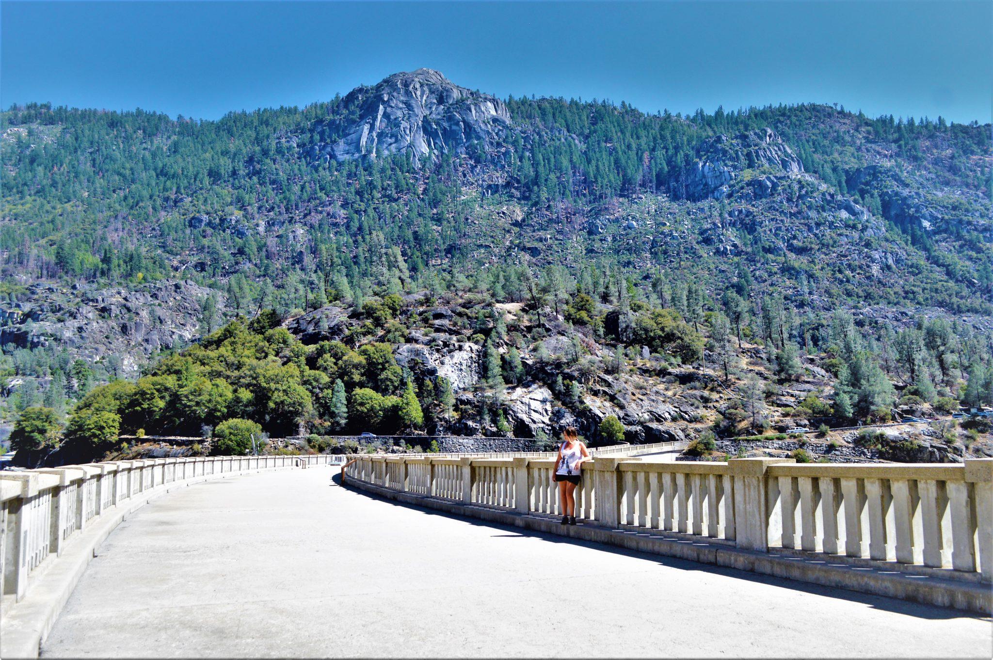 Standing on top of Hetch Hetchy dam, California
