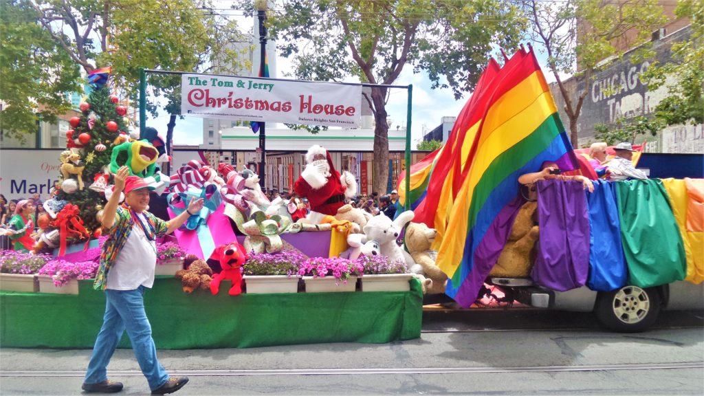 Tom and Jerry Christmas house float, San Francisco Gay Pride Parade, USA