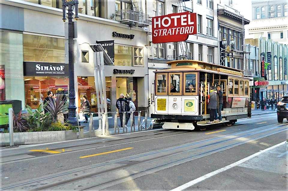 Tram in San Francisco downtown