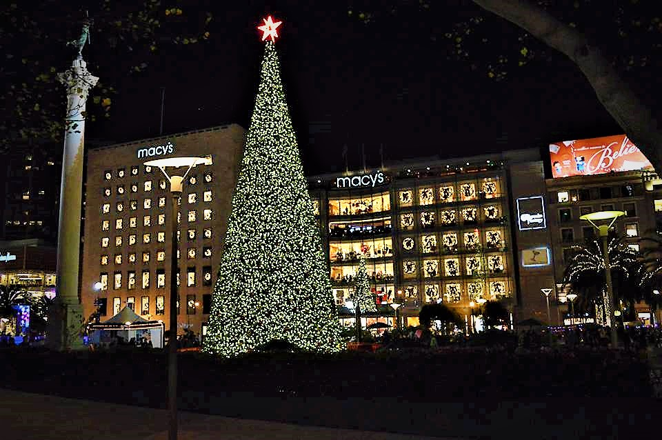 Union Square, christmas tree, San Francisco