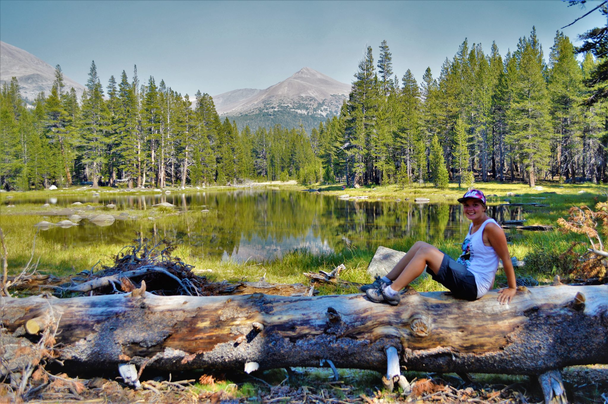 Yosemite sitting at lake, California