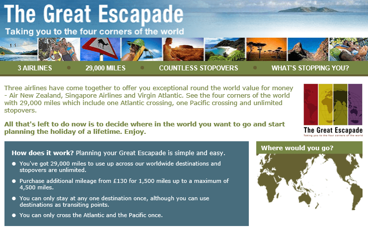 round the world flights, The Great Escapade
