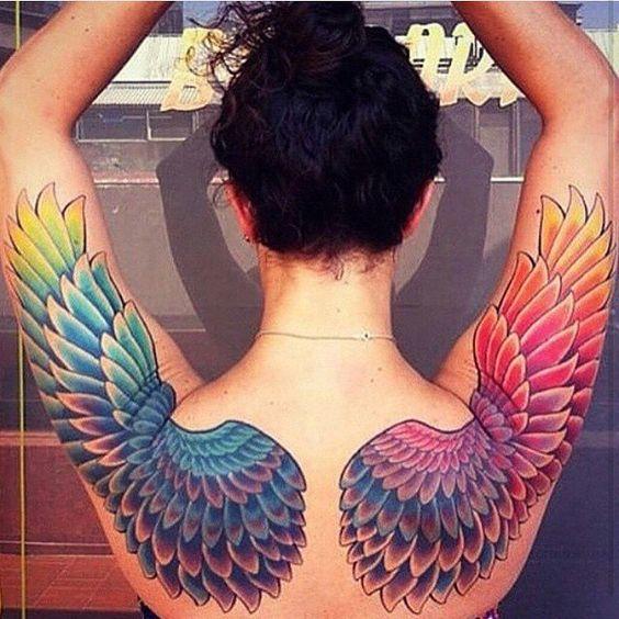 Lesbian tattoo, rainbow angel wings tattoo on back