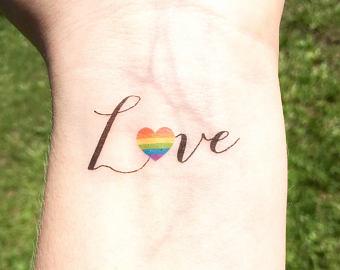 Lesbian tattoos, love rainbow tattoo on wrist
