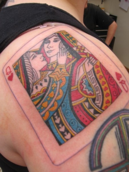 Lesbian tattoos, queen and queen of hearts LGBT tattoo