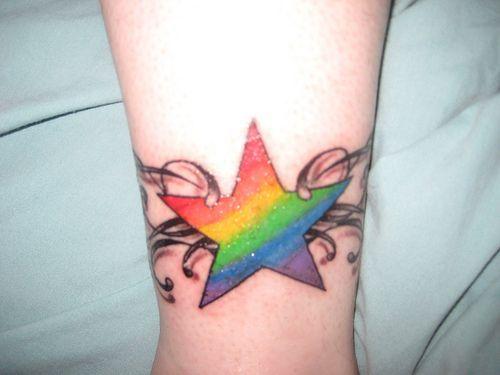 Lesbian tattoos, star rainbow tattoo