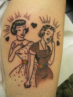 Lesbian tattoos, two girls rainbow tattoo