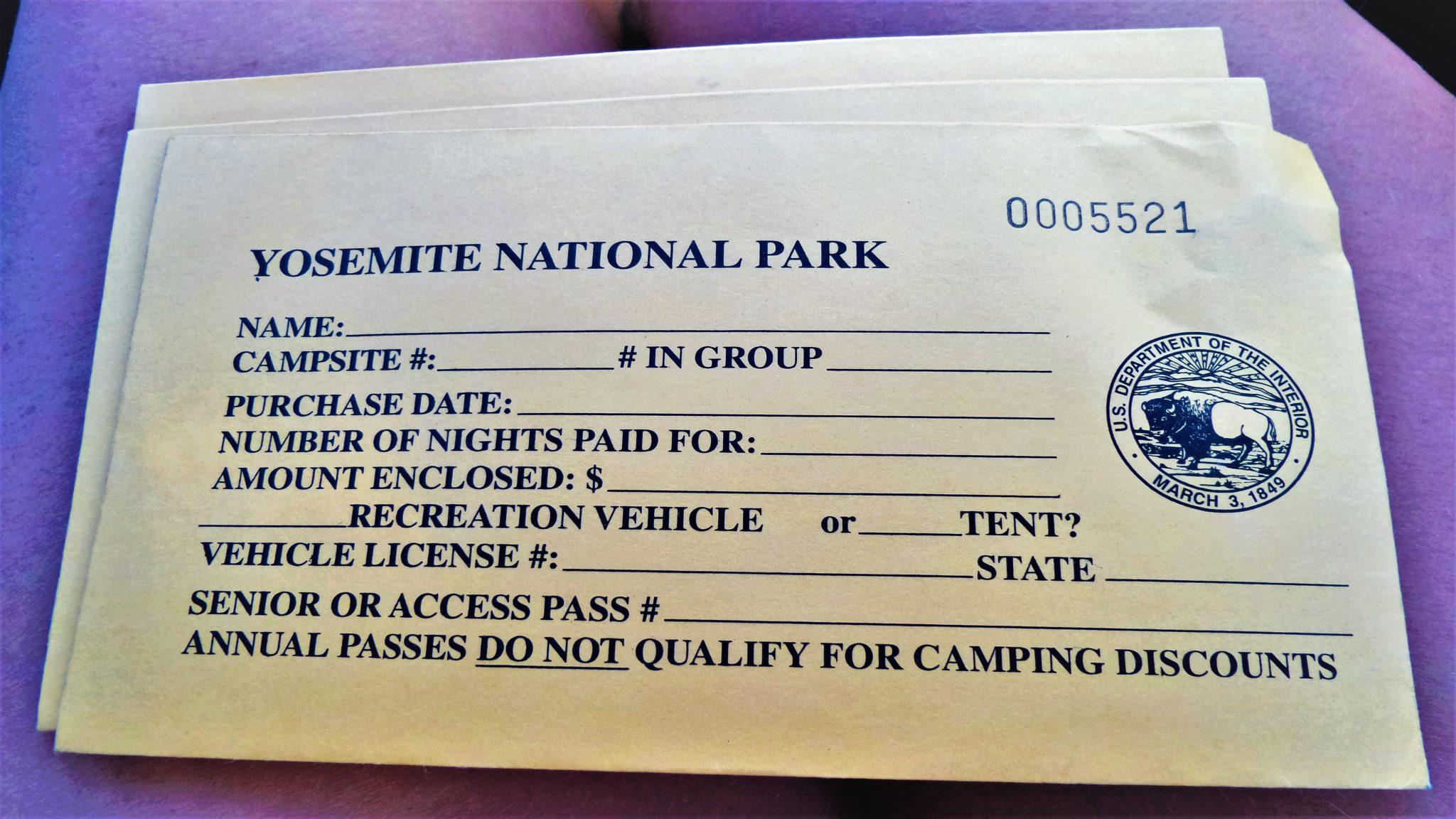 Yosemite National Park camping receipt, California
