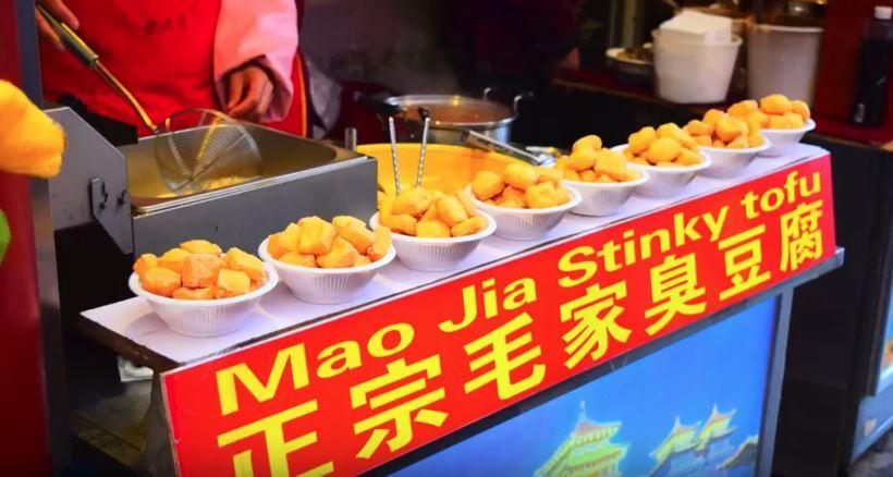stinky tofu, Beijing food market, vegan, china