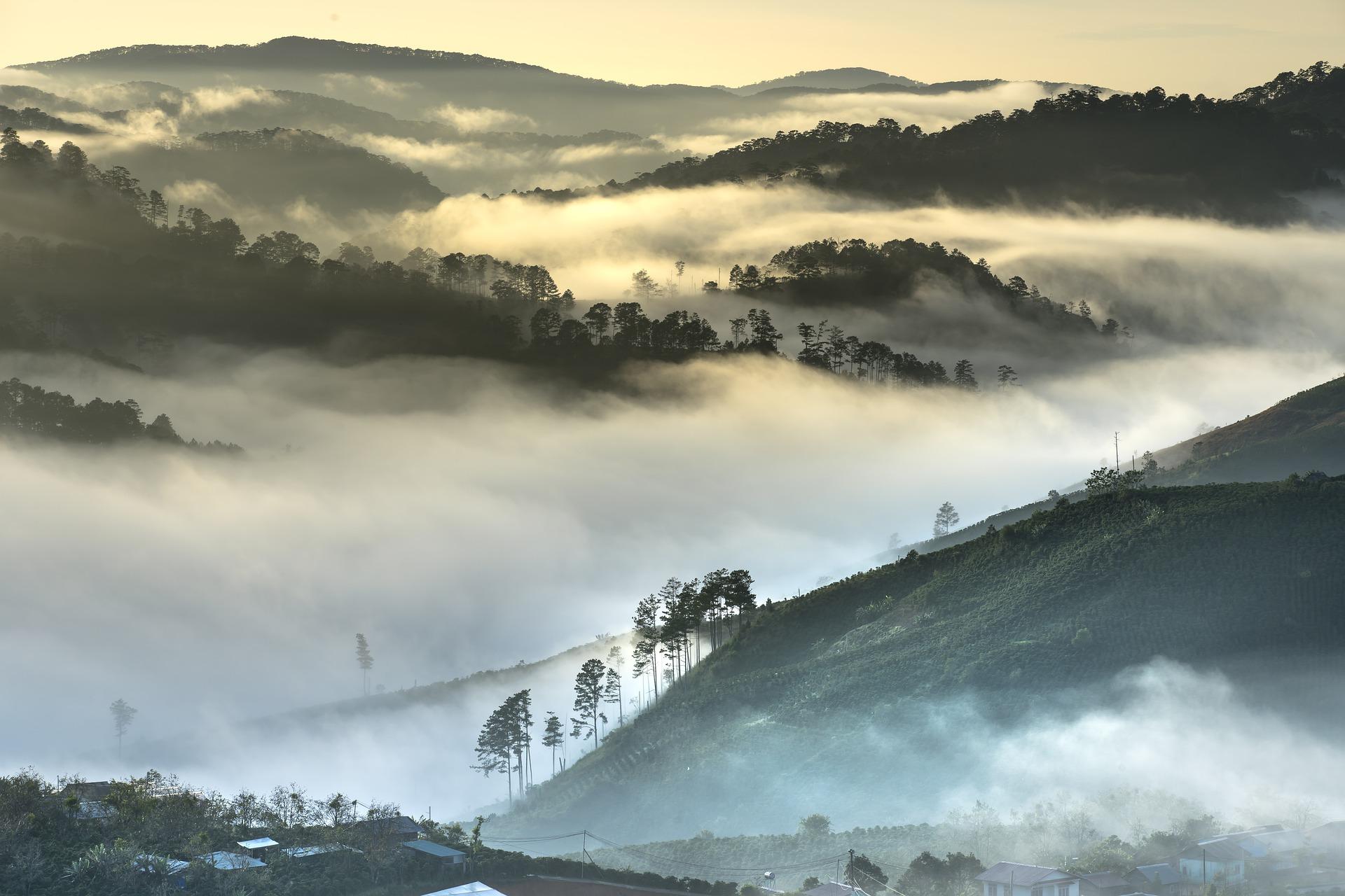 Da Lat in Vietnam, misty mountains