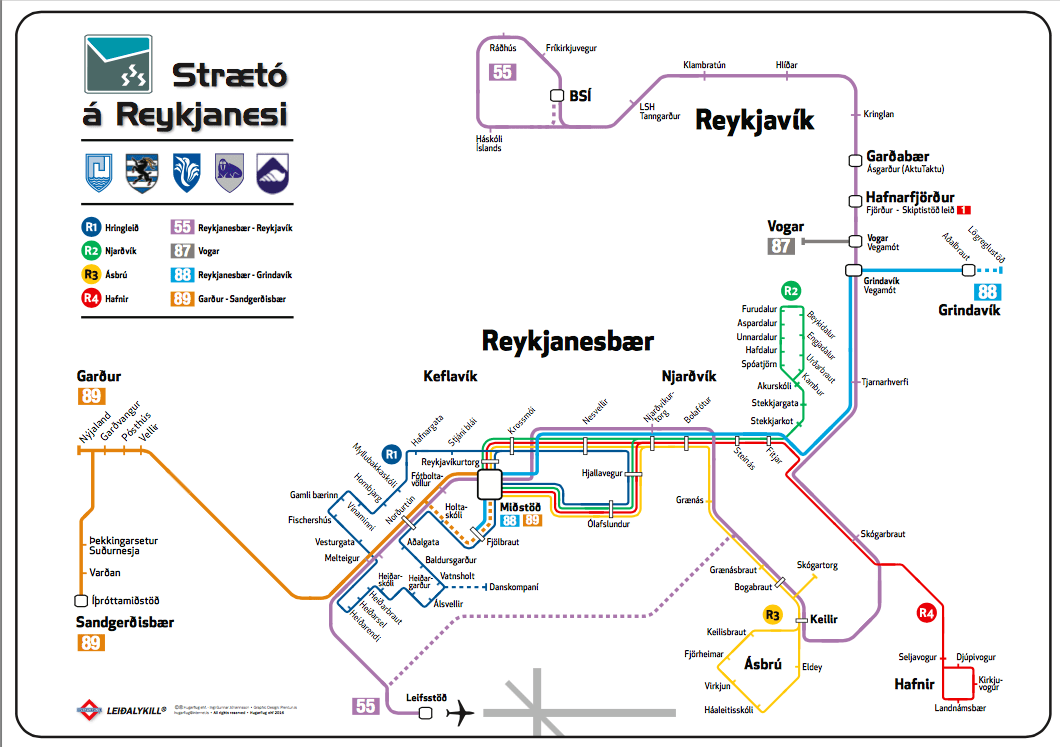 Keflavik airport to Reykjavik, public bus, map of route