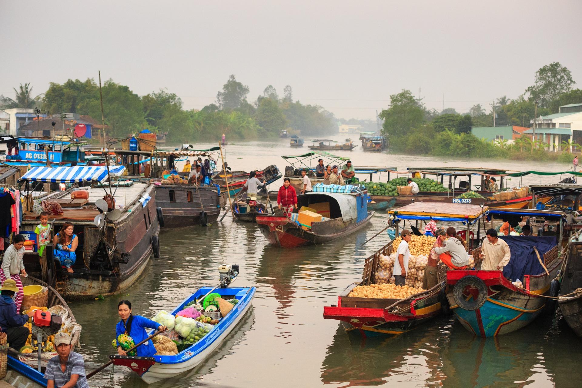 floating-market, Mekong Delta