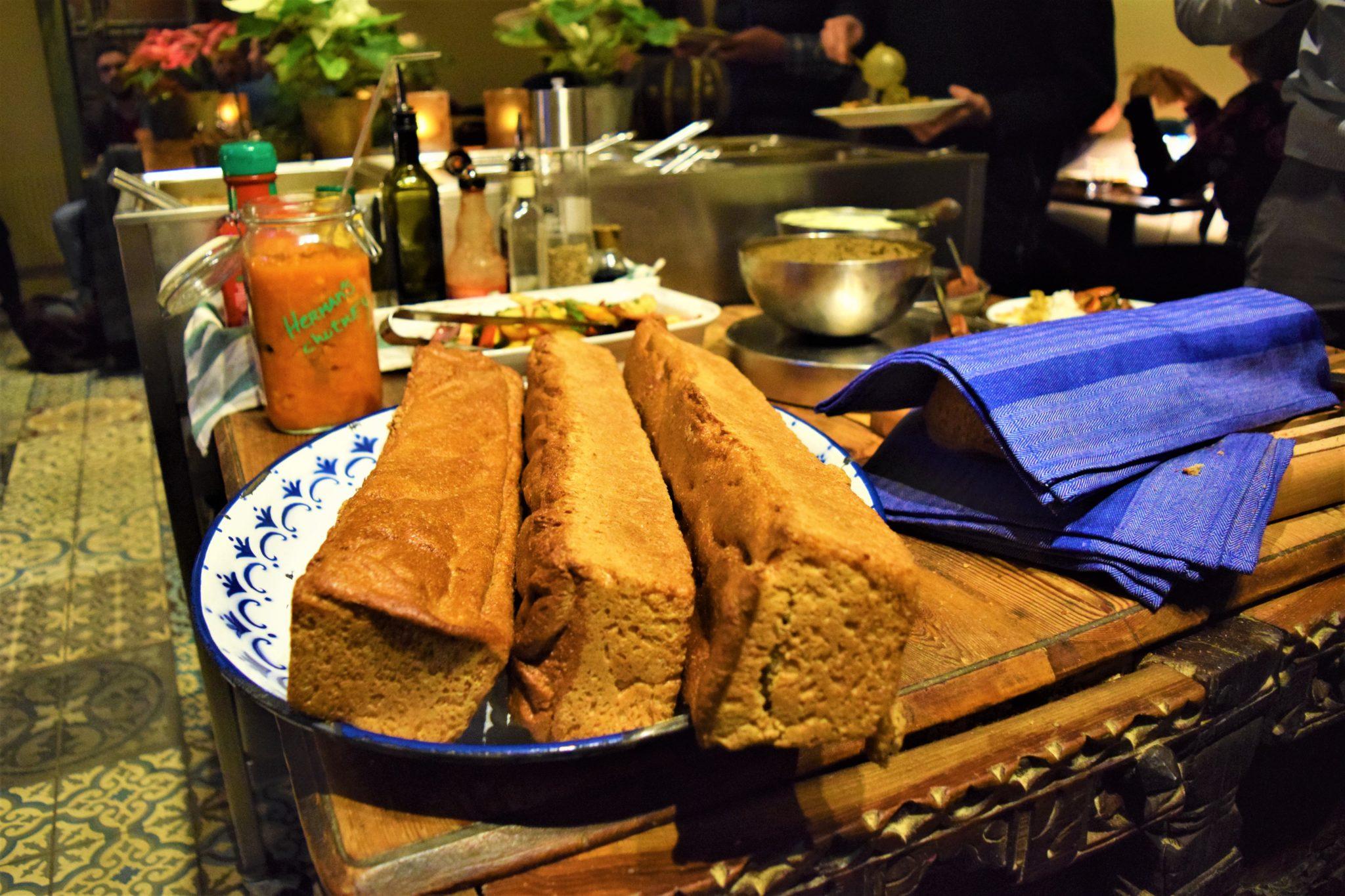 Bread at Hermans vegan buffet, stockholm, sweden