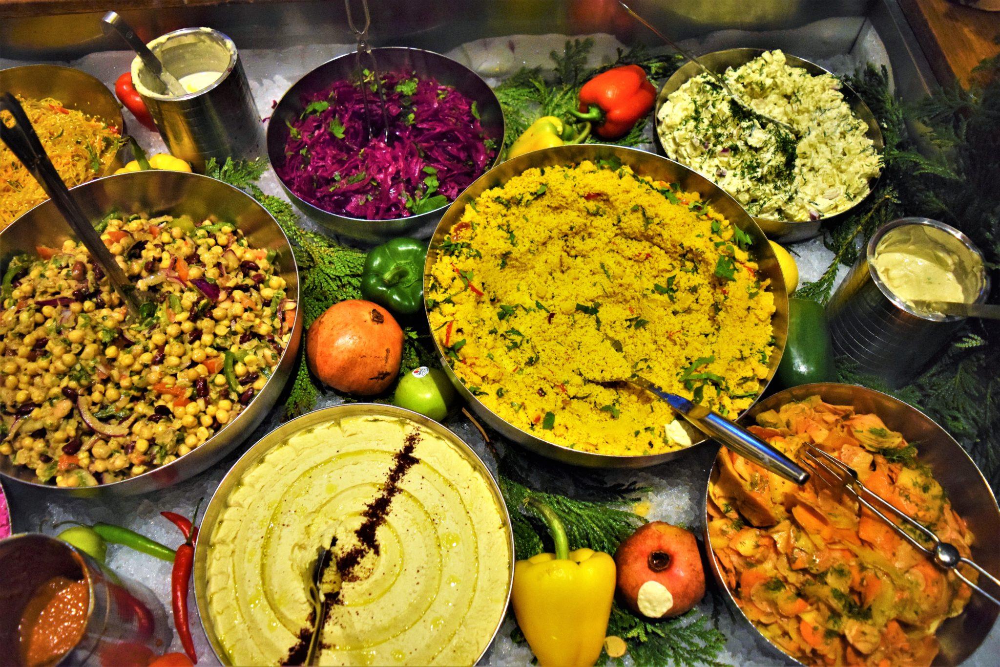 Vegan buffet, hermans, stockholm, sweden