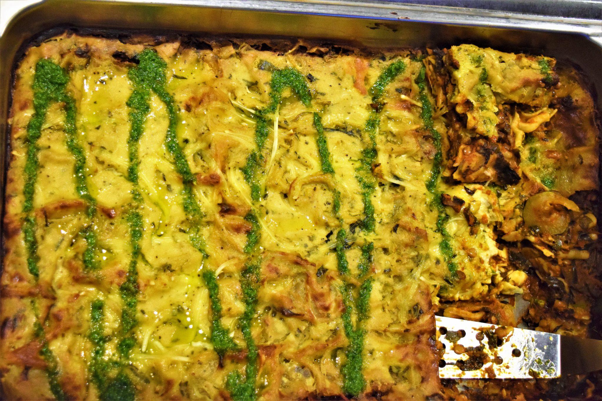 Lasagne, vegan food in stockholm, hermans buffet, sweden