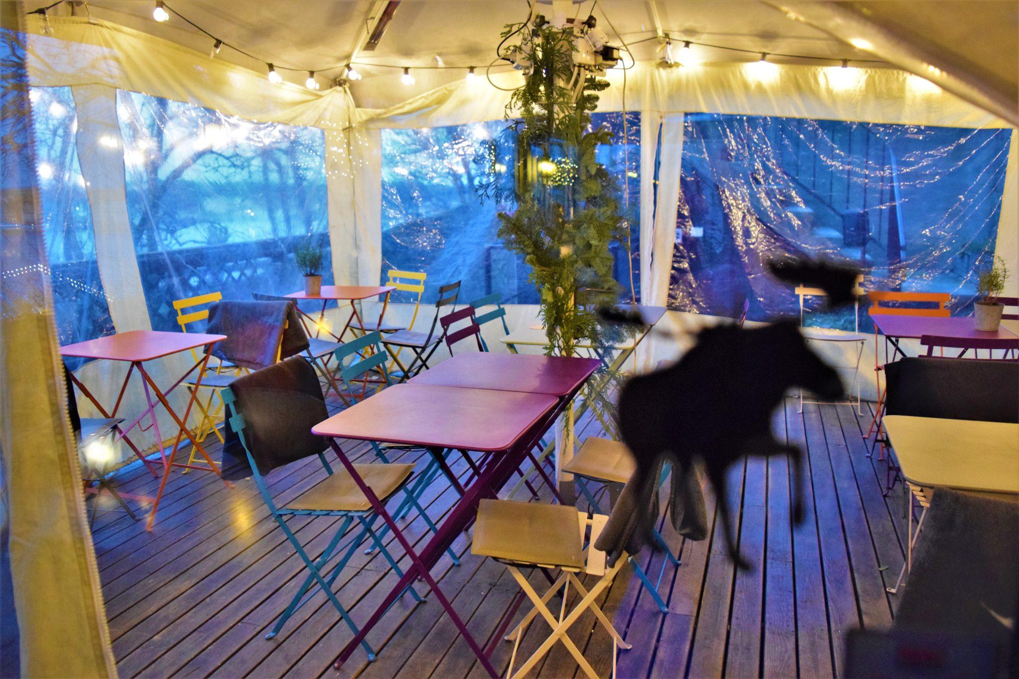 Outdoor seating area, Hermans vegan buffet, stockholm, sweden