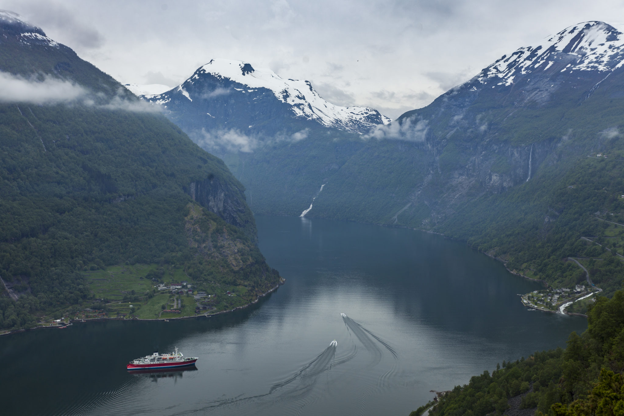 Norway Geirganger Fjords Expedition Ship Aerial Landscape