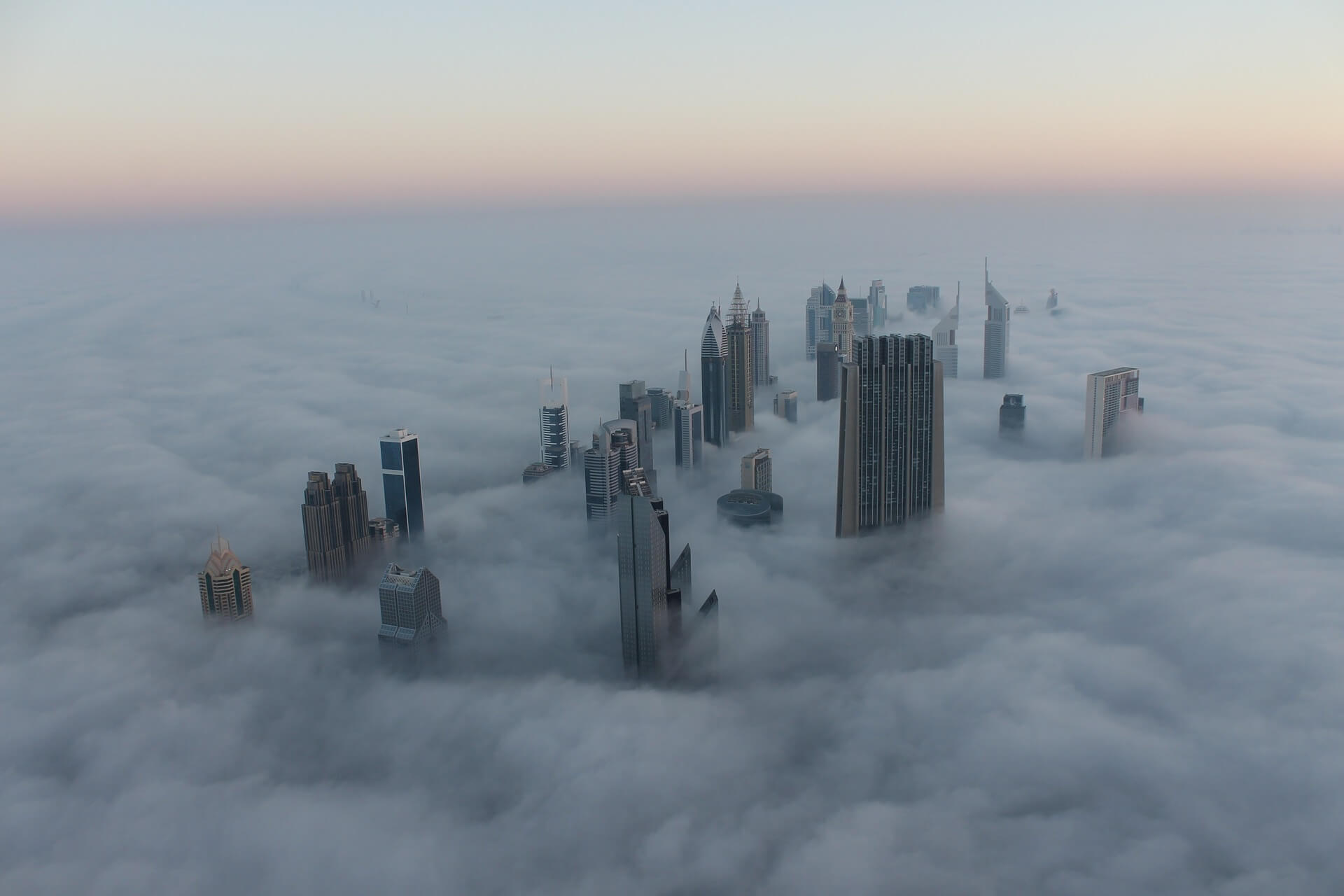 Cityscape Dubai in fog
